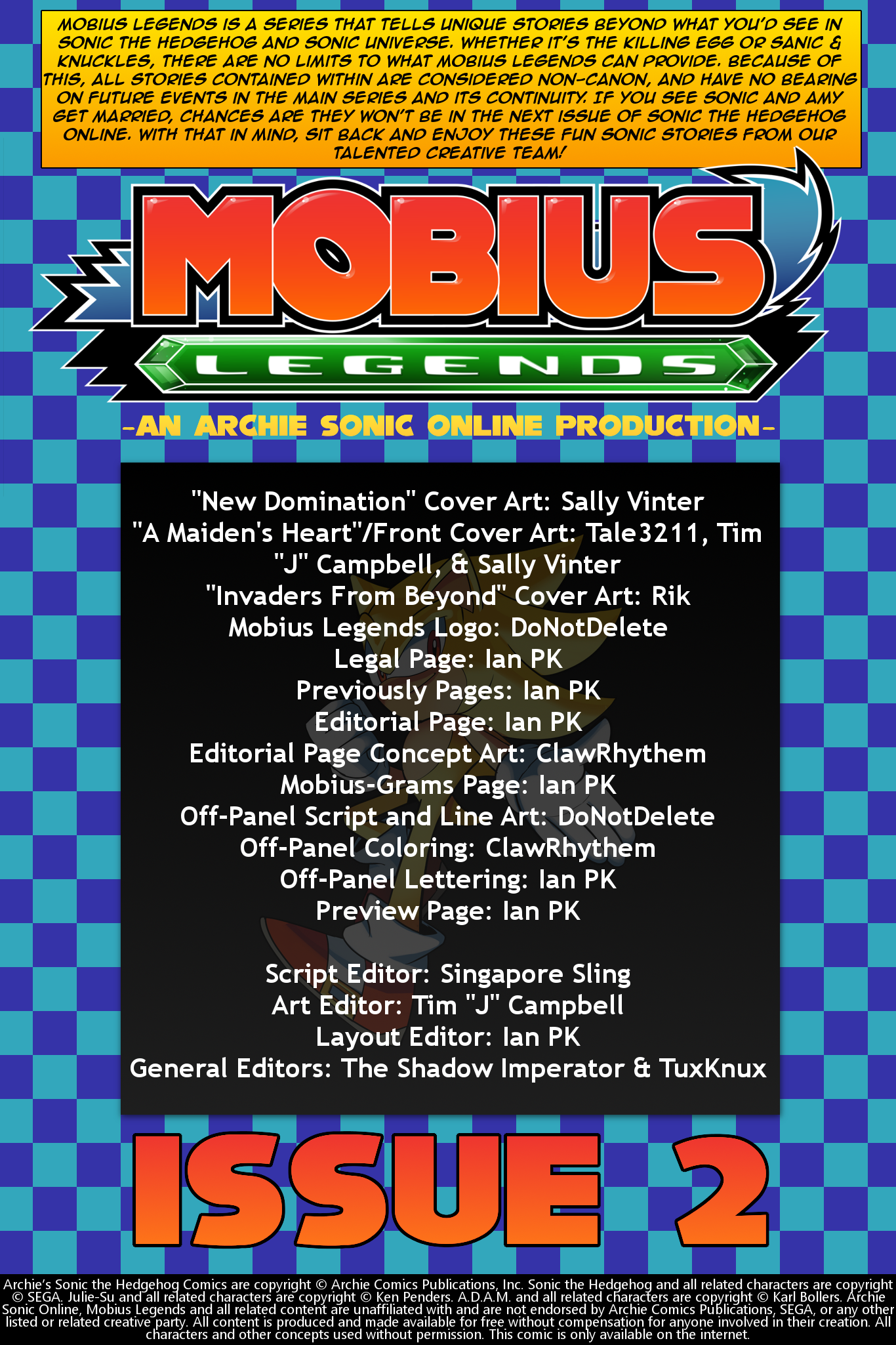 Mobius Legends #2 – Table of Contents