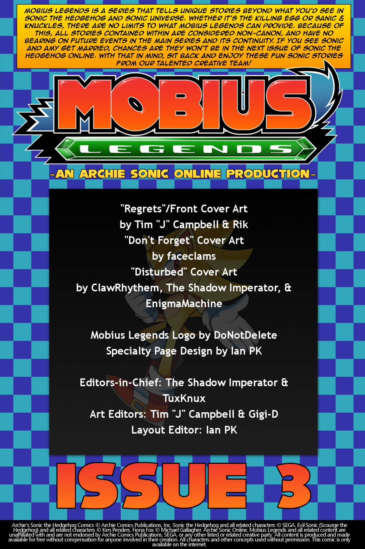 Mobius Legends #3 – Table of Contents