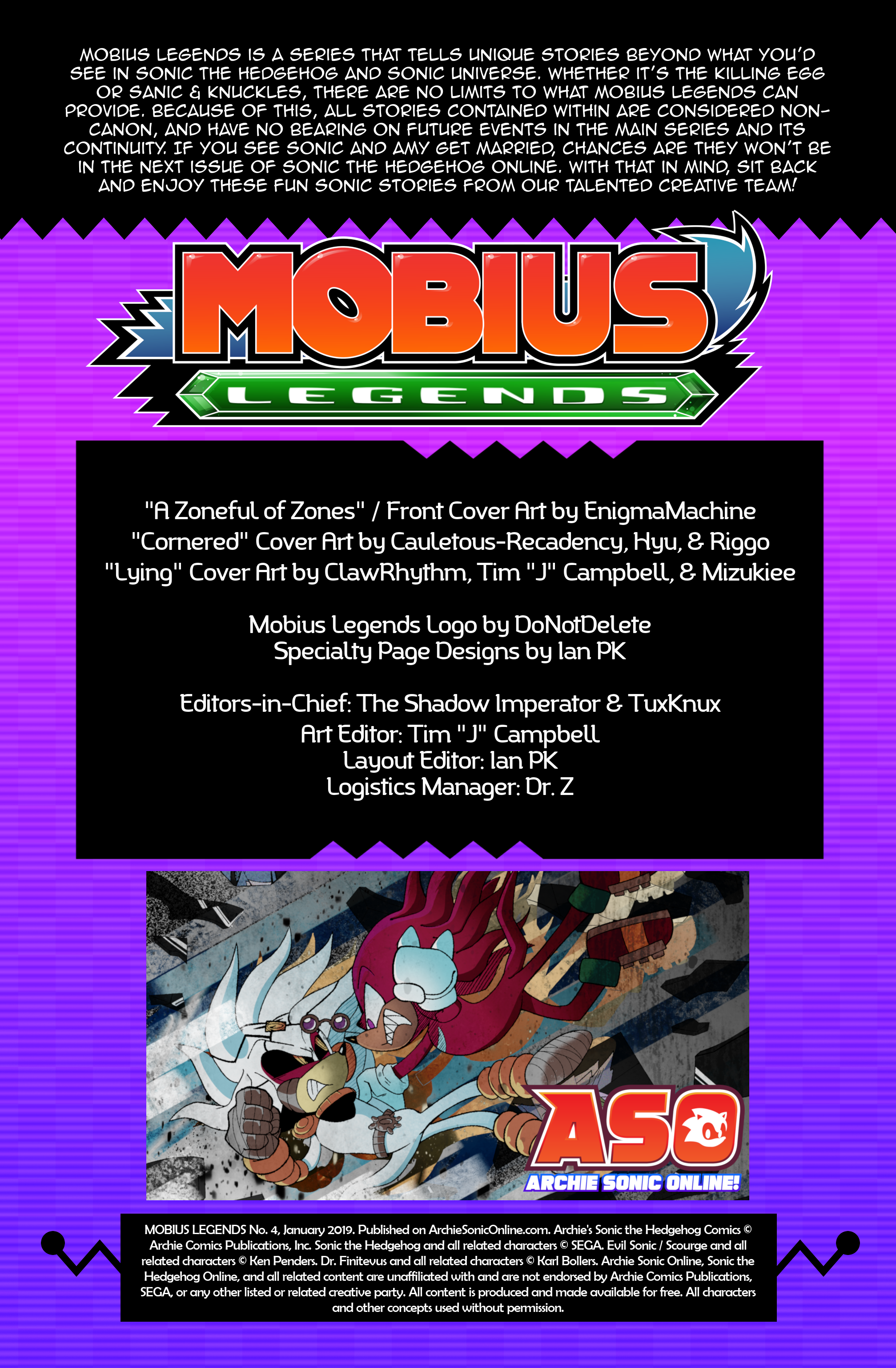 Mobius Legends #4 – Table of Contents