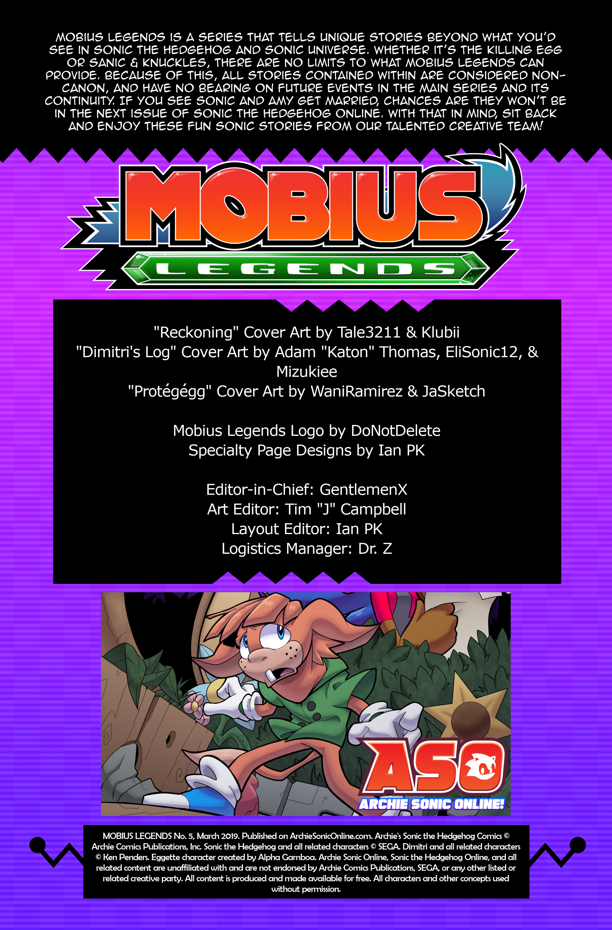 Mobius Legends #5 – Table of Contents